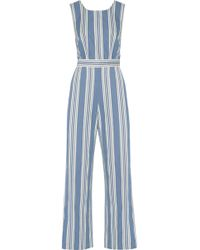 be4ce260088 M.i.h Jeans - Striped Cotton-chambray Jumpsuit Mid Denim Size Xs - Lyst