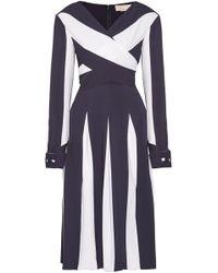 Monse - Wrap-effect Two-tone Silk-blend Crepe Midi Dress - Lyst