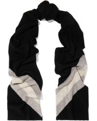 37e1e9d81242b Madeleine Thompson Gunther Striped Wool And Cashmere-blend Scarf Black