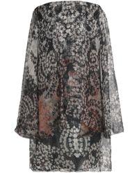 Lanvin - Strapless Printed Silk-chiffon Mini Dress - Lyst