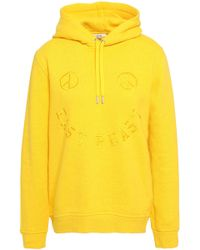 Ganni - Woman Lott Isoli Embroidered French Cotton-terry Hoodie Bright Yellow - Lyst