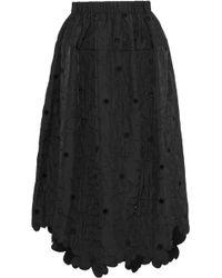 Simone Rocha - Eyelet-embellished Embroidered Shell Midi Skirt - Lyst