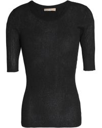 Michael Kors - Metallic Ribbed-knit Top - Lyst