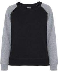 Monrow - Two-tone Wool And Cotton-blend Sweatshirt - Lyst