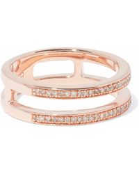 Monica Vinader - 18-karat Rose Gold-plated Sterling Silver Diamond Ring - Lyst