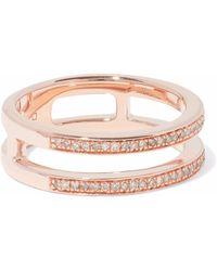 Monica Vinader - Woman 18-karat Rose Gold-plated Sterling Silver Diamond Ring Rose Gold - Lyst