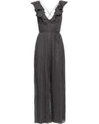 Zimmermann - Woman Ruffled Polka-dot Silk-georgette Jumpsuit Dark Brown - Lyst