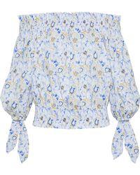 Caroline Constas - Lou Off-the-shoulder Printed Cotton-blend Top Blue - Lyst