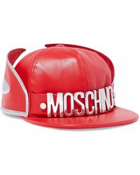 Moschino - Metallic-trimmed Embellished Leather Cap - Lyst