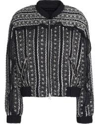 Needle & Thread - Ruffle-trimmed Embellished Chiffon Bomber Jacket - Lyst