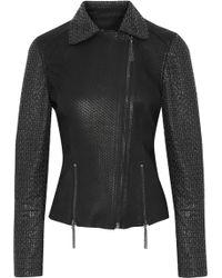 Elie Tahari - Nancy Ring-embellished Snake-effect Leather Biker Jacket - Lyst