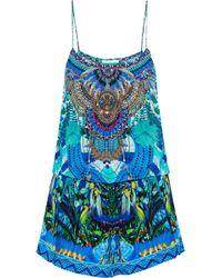 Camilla - Wandering Eye Crystal-embellished Printed Silk Playsuit - Lyst