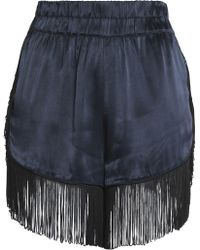 Ganni | Fringed Crepe-satin Shorts Midnight Blue | Lyst