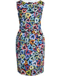 Love Moschino - Printed Cotton-blend Twill Dress - Lyst