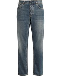 Acne Studios - Faded High-rise Straight-leg Jeans Mid Denim - Lyst
