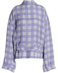 JOSEPH - Royce Checked Canvas Jacket Lavender - Lyst