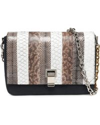 Proenza Schouler - Courier Snake, Leather And Canvas Shoulder Bag - Lyst