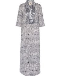 Figue - Long Tux Sequin-embellished Printed Cotton-broadcloth Kaftan - Lyst