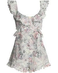4b9d256d58 Zimmermann - Woman Jasper Cutout Floral-print Broderie Anglaise Cotton  Playsuit Light Green - Lyst
