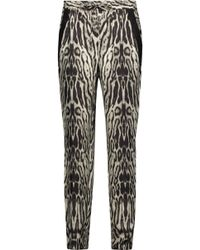 Roberto Cavalli - Printed Silk-satin Tapered Trousers - Lyst
