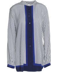 Equipment - Paneled Striped Silk Top Royal Blue - Lyst