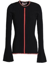 ROKSANDA - Ruffle-trimmed Ribbed-knit Sweater - Lyst
