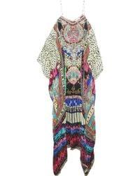 Camilla - Convertible Crystal-embellished Printed Silk Crepe De Chine Kaftan - Lyst