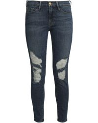 FRAME - Distressed Mid-rise Skinny Jeans - Lyst
