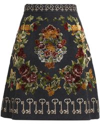 Dolce & Gabbana - Embroidered Wool-blend Skirt - Lyst