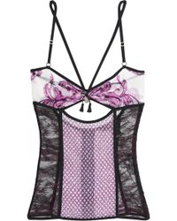Roberto Cavalli - Cutout Lace, Printed Mesh And Georgette Bustier - Lyst