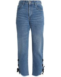 Maje - Lace-up Faded High-rise Straight-leg Jeans Mid Denim - Lyst