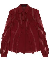 Elie Saab - Lace-trimmed Ruffled Silk-blend Crepe De Chine Blouse - Lyst