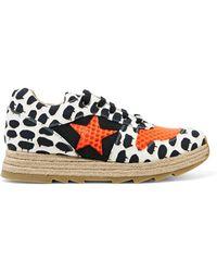 Stella McCartney - Neon Mesh-paneled Printed Canvas Espadrille Sneakers - Lyst