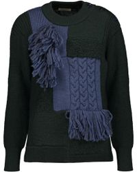 Nina Ricci - Fringed-trimmed Panelled Bouclé And Cable-knit Wool Jumper - Lyst