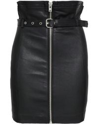 a0e7e74b5 IRO Gin Fringe-trimmed Leather Skirt in Black - Lyst
