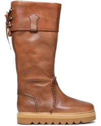 See By Chloé - Whipstitched Leather Knee Boots - Lyst