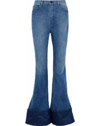 Brandon Maxwell - Duchesse Satin-paneled High-rise Flared Jeans - Lyst