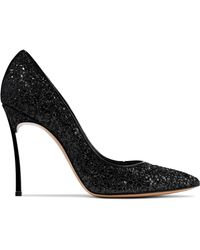 Casadei - Blade Glittered Leather Pumps - Lyst