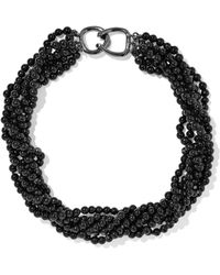 Kenneth Jay Lane - Gunmetal-tone Bead Necklace - Lyst
