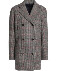 Vanessa Seward - Woman Double-breasted Checked Wool Jacket Taupe Size 38 - Lyst