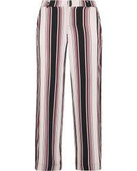 Splendid - Luxe Striped Washed-silk Wide-leg Trousers - Lyst