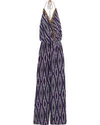 ViX - Lena Printed Silk Halterneck Jumpsuit Dark Purple - Lyst