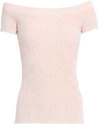 Helmut Lang - Woman Off-the-shoulder Ribbed-knit Chenille Top Pastel Pink - Lyst