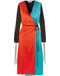 Attico - Grace Color-block Satin Wrap Dress - Lyst