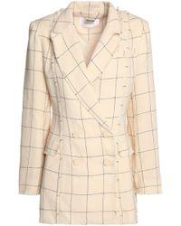 Zimmermann - Frayed Checked Linen-twill Blazer - Lyst