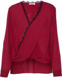 L'Agence - Rosario Lace-trimmed Silk Crepe De Chine Blouse - Lyst