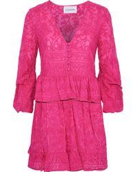 Nicholas - Woman Embroidered Cotton And Silk-blend Peplum Mini Dress Fuchsia - Lyst