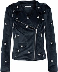 Rebecca Minkoff - Woman Studded Velvet Biker Jacket Midnight Blue - Lyst