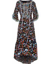 Peter Pilotto - Lace And Ruffle-trimmed Printed Silk Maxi Dress - Lyst