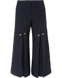 Mother Of Pearl - Woman Bennie Faux Pearl-embellished Pleated Cotton-tweed Wide-leg Pants Navy - Lyst